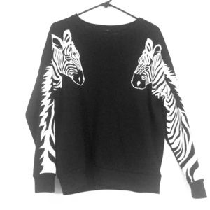 Black and white zebra crew neck